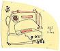 Sew What: original drawing on hand-cut manila pattern paper by Carol Es